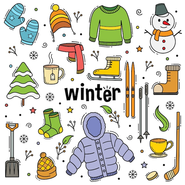 Зимний каракули рисованной объекты в стиле арт-линии Premium векторы