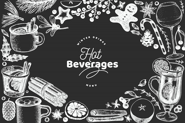 Winter drinks template Premium Vector