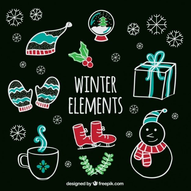 Winter elements in hand drawn style Free Vector