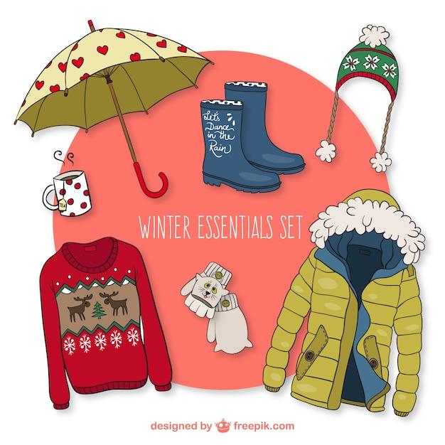 Winter essentials set Free Vector