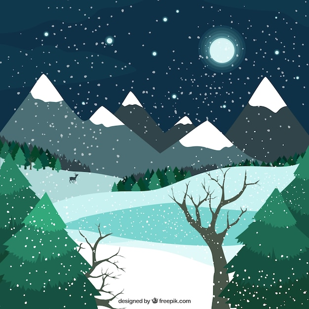 Winter evening background with mountains