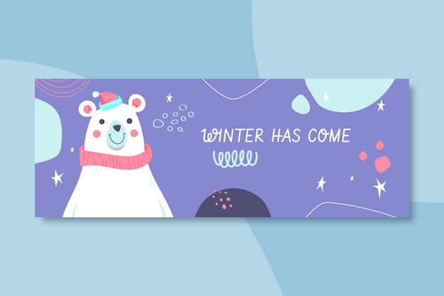 Winter facebook cover template illustrated Free Vector