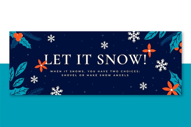 Winter facebook cover template Free Vector