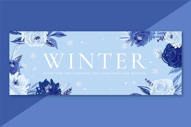 Copertina facebook invernale con fiori Vettore gratuito