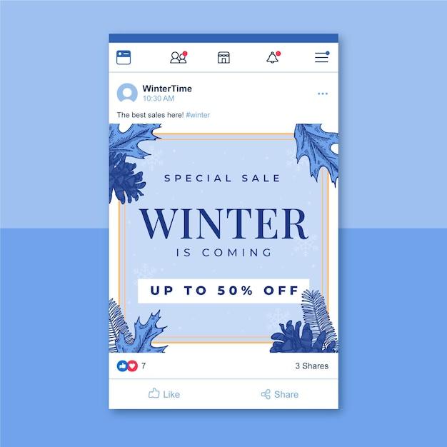 Modello di post facebook invernale illustrato Vettore gratuito