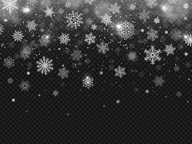 Winter falling snow Premium Vector