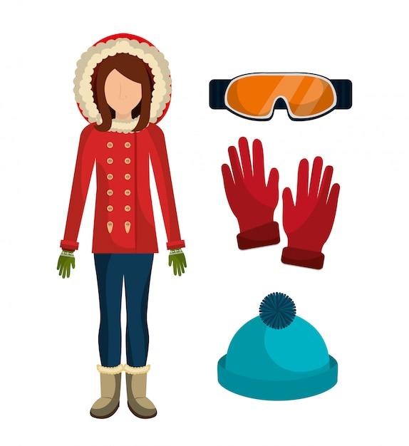 冬のファッション服とアクセサリー 無料ベクター