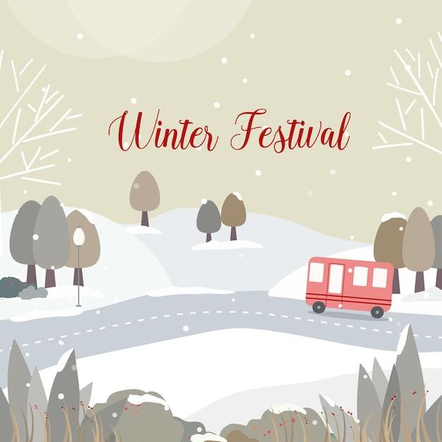 Festival invernale con strade e boschi innevati Vettore gratuito