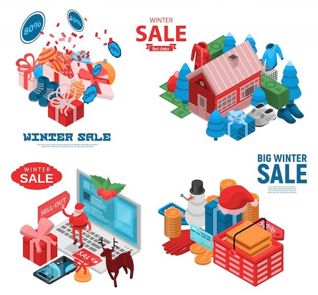 Winter final sale banner set. isometric set of winter final sale vector banner for web design Premium Vector
