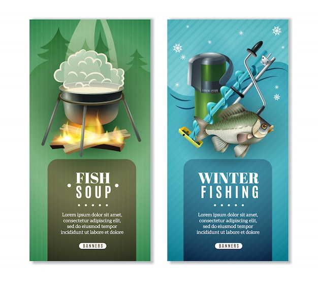 Winter fishing 2 vertical banners set Free Vector