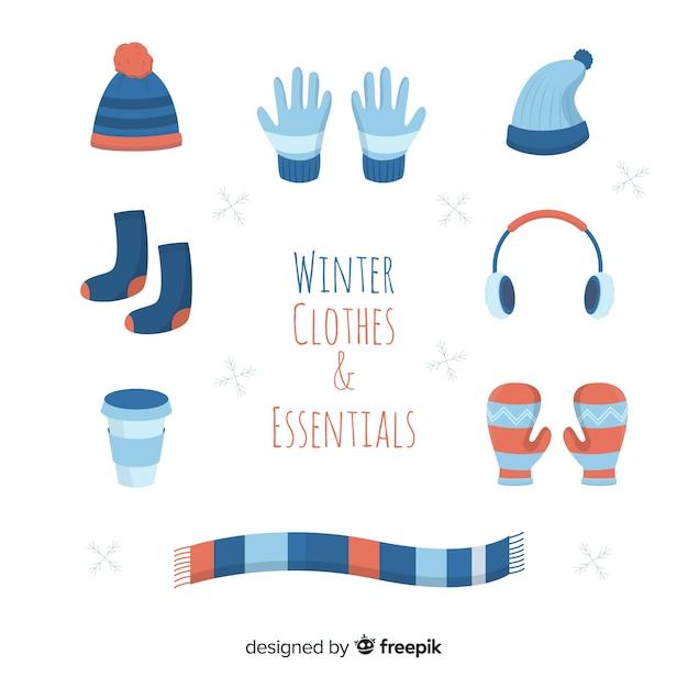 Vestiti piani ed essenziali invernali Vettore gratuito