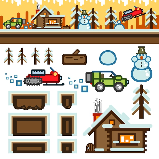 Winter flat game level kit Premium Vector