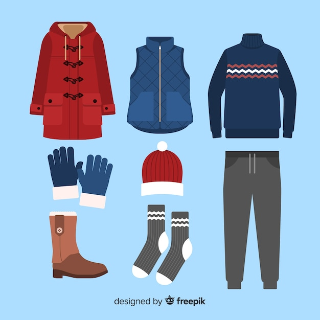 Winter flat outfit Free Vector