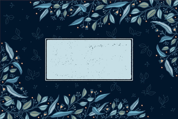 Winter floral background with empty badge Free Vector
