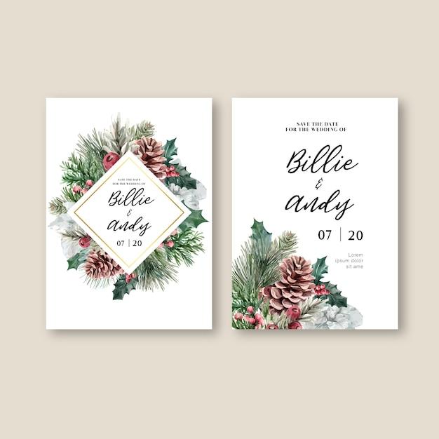 Зимние цветочные цветущие элегантные свадебные приглашения для украшения винтажные красивые Бесплатные векторы