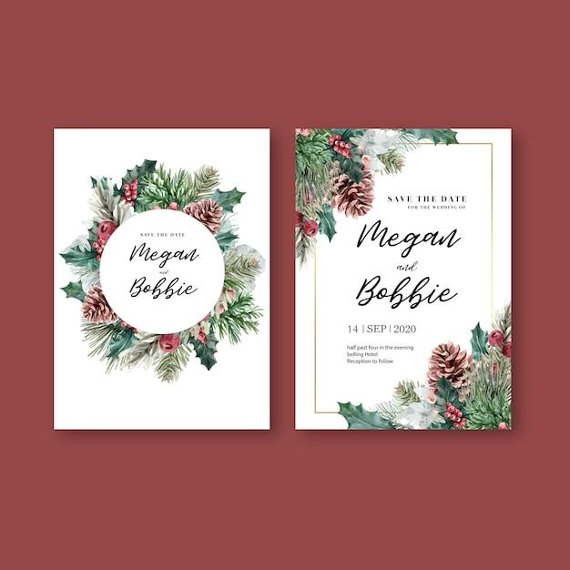 冬の花の咲くエレガントな結婚式の招待カード装飾ヴィンテージの美しい 無料ベクター