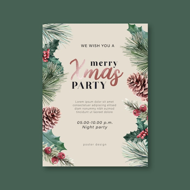 Winter floral blooming poster, postcard elegant for decoration vintage beautiful Free Vector