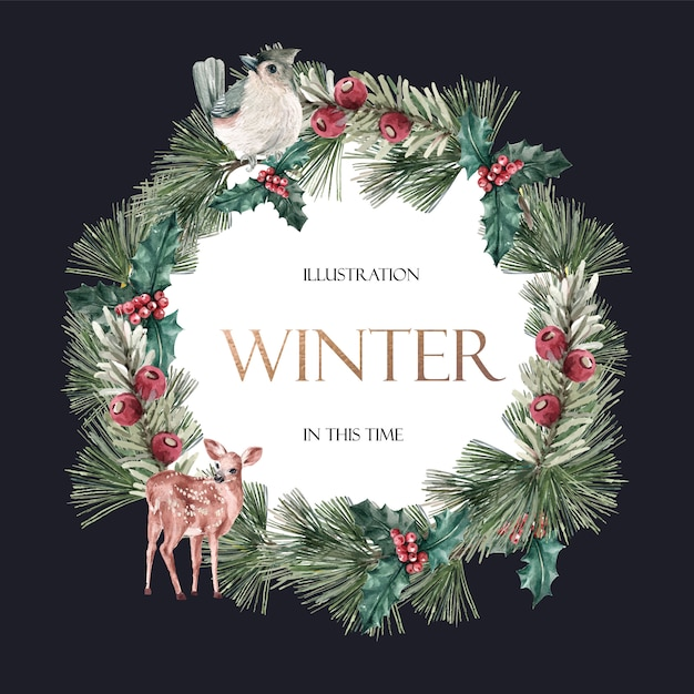 Winter floral blooming wreath frame elegant for decoration vintage beautiful Free Vector