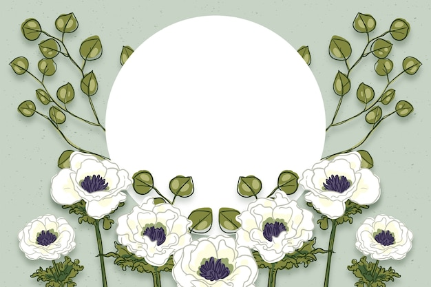 Winter flowers background with empty badge Free Vector