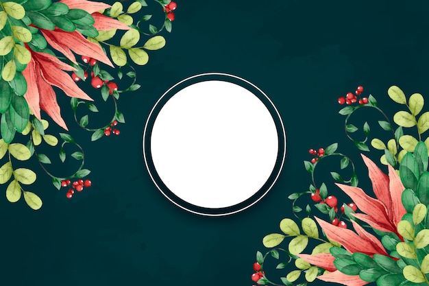 Winter flowers background with empty spot Free Vector