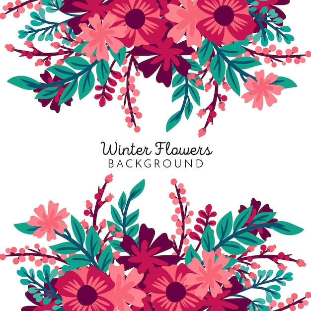 Winter flowers background Free Vector