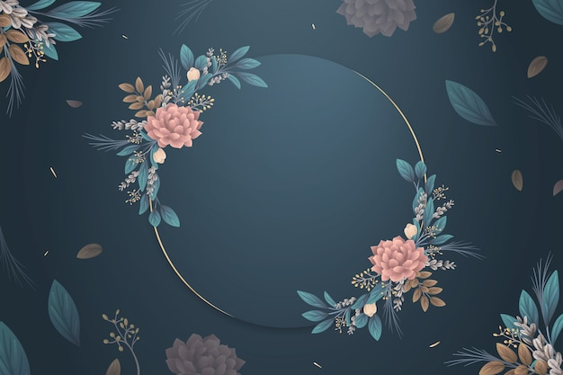 Free Vector Winter Flowers Wallpaper With Empty Badge