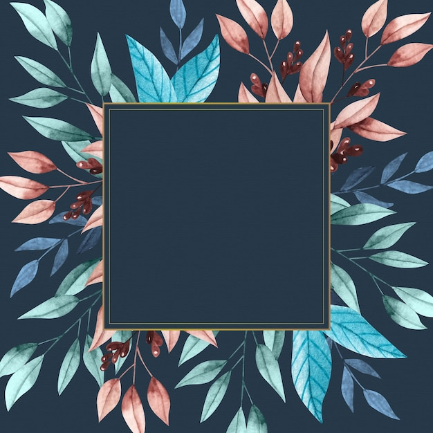 Winter flowers with empty banner frame Free Vector