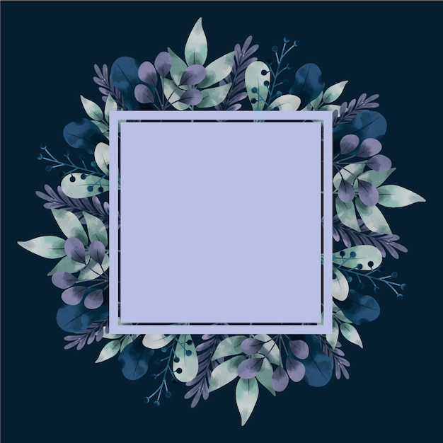 Winter flowers with empty banner hand drawn Free Vector