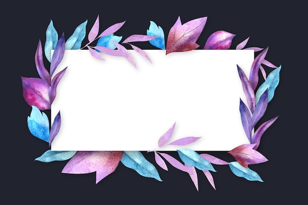 Winter flowers with empty banner Free Vector