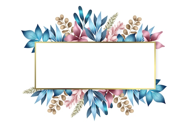 Winter flowers with empty rectangle banner Free Vector