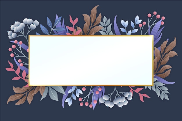 Winter flowers with white banner Free Vector