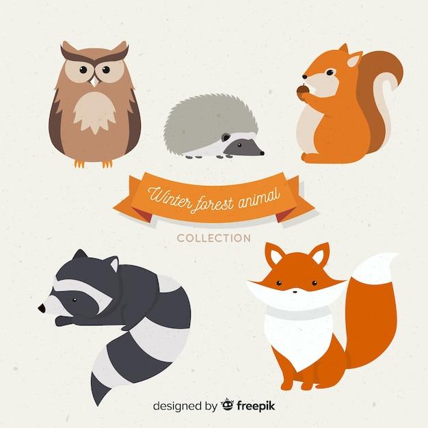 Коллекция зимних лесных животных Бесплатные векторы