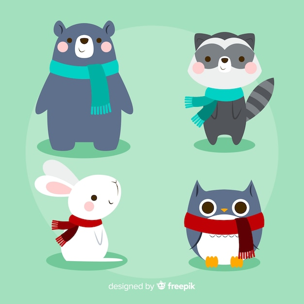 Winter forest animal pack Free Vector
