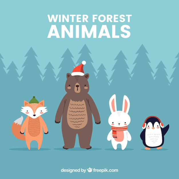 Winter forest animals collection in flat\ design