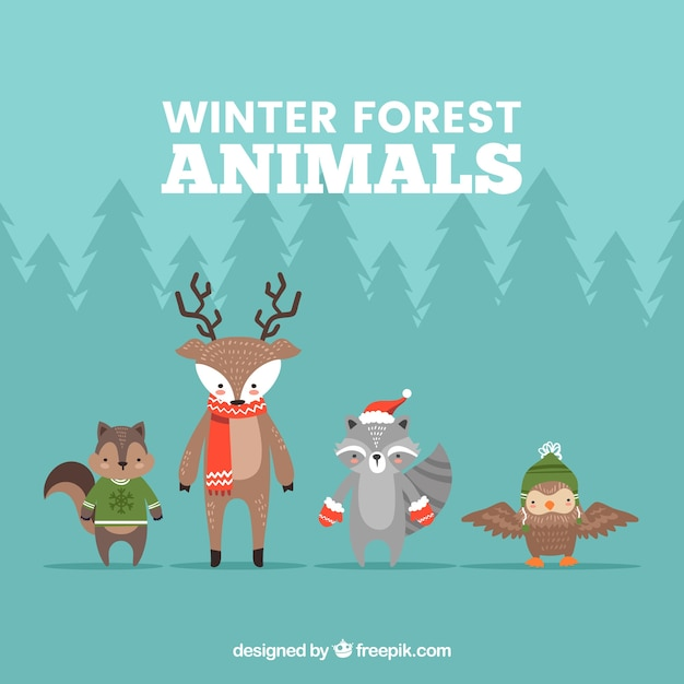 Winter forest animals collection of four