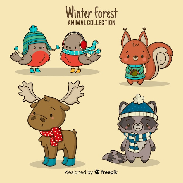 Winter forest animals collection Free Vector