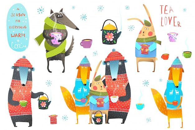冬の森の動物のお茶を飲むクリップアート Premiumベクター