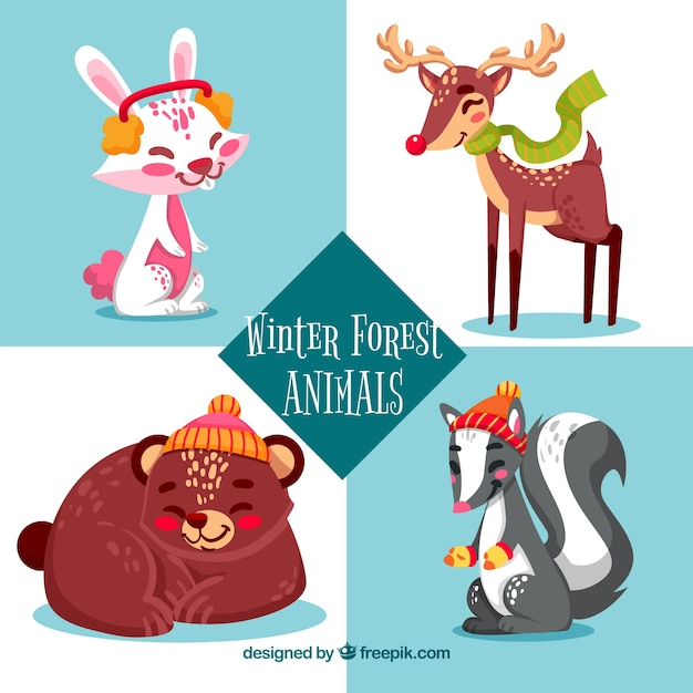 Winter forest animals set of four