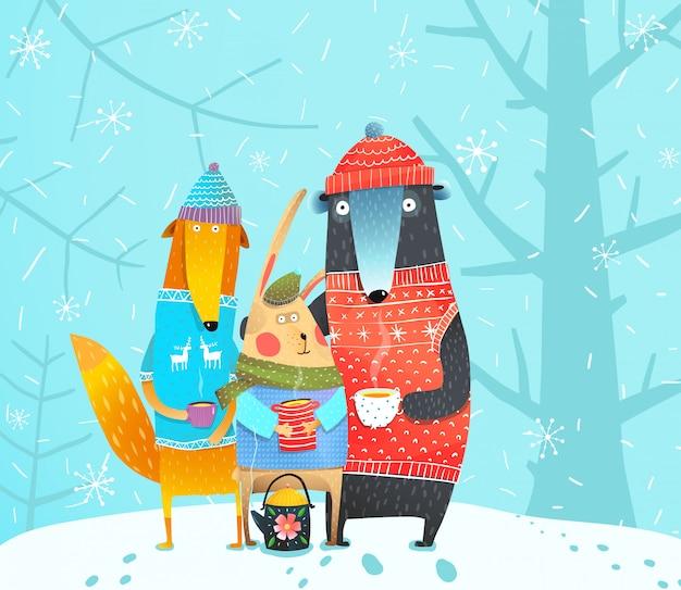 Зимние лесные животные Premium векторы