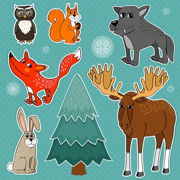 Winter forest animals Free Vector