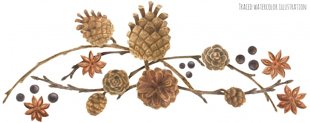 Winter forest garland with cones and branches Premium Vector