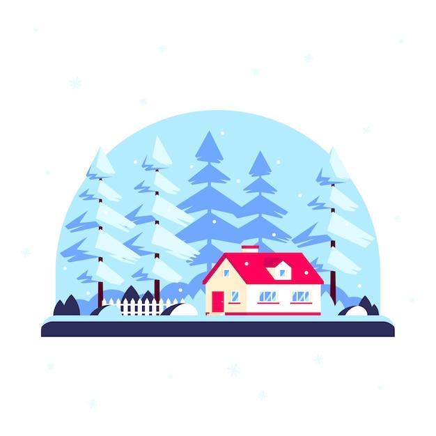 冬の森の家、家族の家に木がある冬のランドスケープ。不動産のコンセプト。フラットなデザインスタイルのイラスト Premiumベクター
