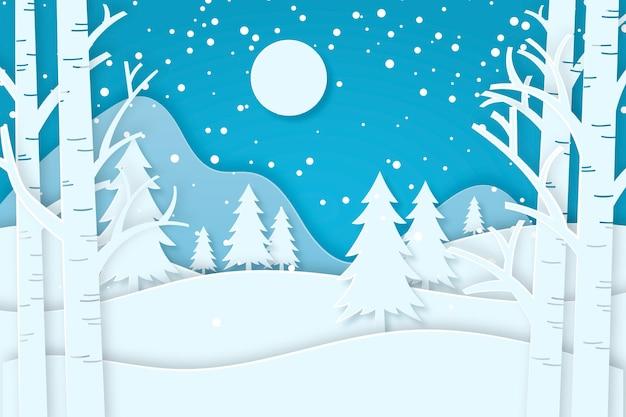 紙のスタイルの背景の冬の森 Premiumベクター