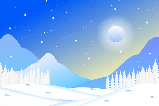 Winter forest landscape with mountains and sky Premium Vector