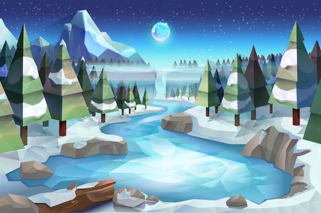冬の森、ベクトルイラスト低ポリスタイル Premiumベクター
