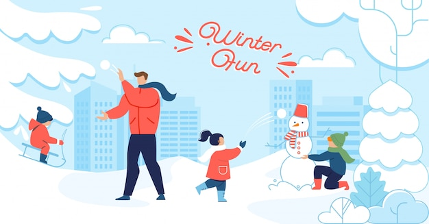 Winter fun and happy family motivation poster Premium Vector