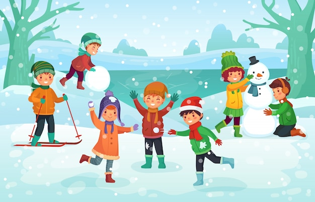 Winter fun for kids. happy cute children playing outdoors. christmas  holidays cartoon illustration Premium Vector