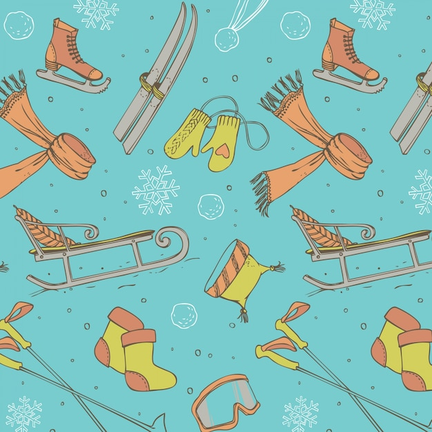Winter fun seamless pattern Free Vector