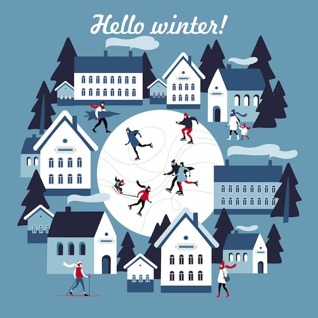 Зимняя открытка с публичным катанием в маленьком снежном городке. векторная иллюстрация Premium векторы