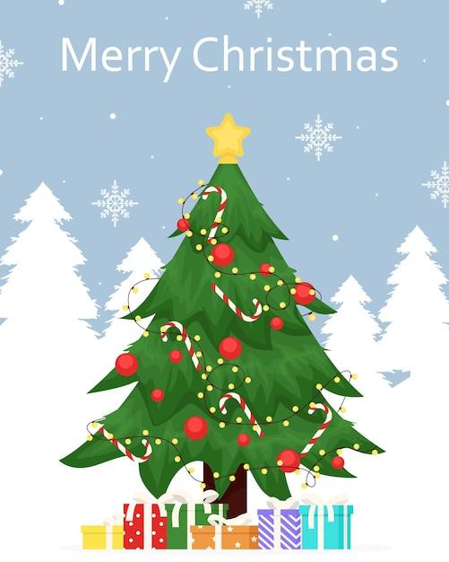 飾られたメリークリスマスのための冬の挨拶 Premiumベクター
